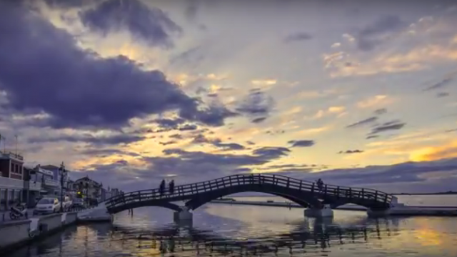 Welcoming the night at Lefkada's town- time lapse video