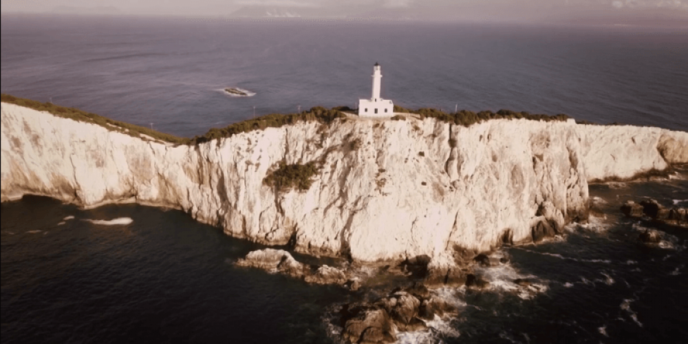 The impressive lighthouse of Lefkatas in the southern part of Lefkas (drone video)
